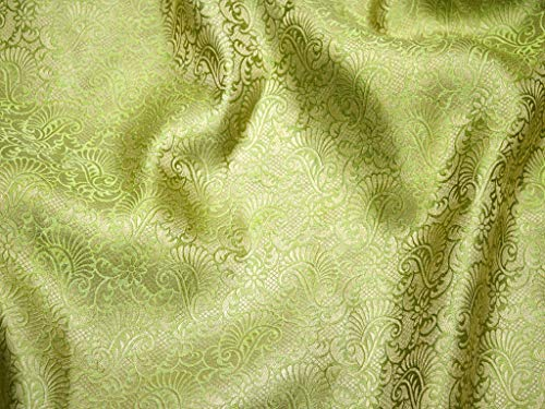 Brocade Fabric Olive Green Gold Brocade Jacquard Art Silk Wedding Fabric Sewing Fabric