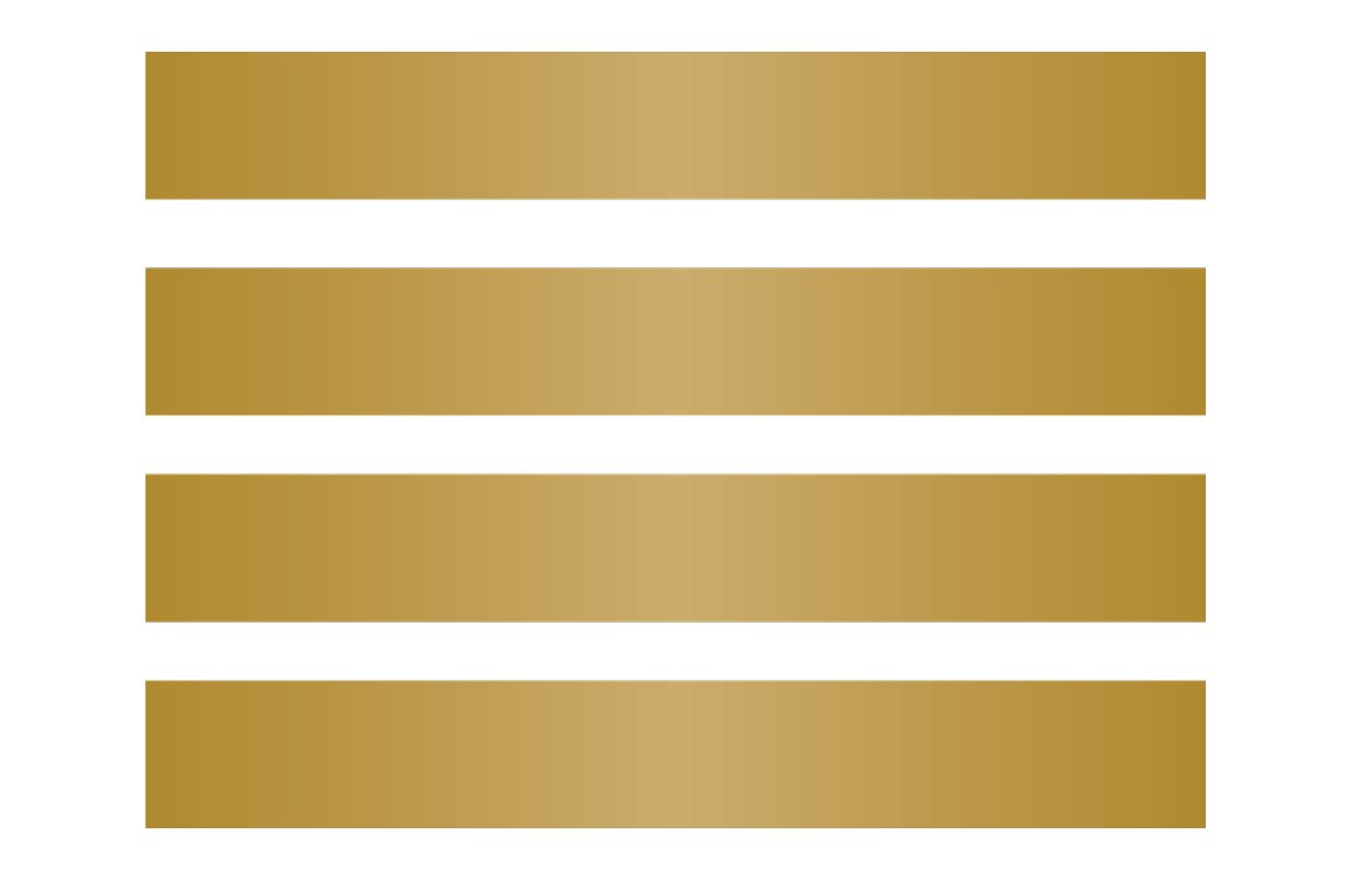 4 Large Matte Gold Wall Stripes - Pattern Vinyl Wall Art Decal for Homes, Offices, Kids Rooms, Nurseries, Schools, High Schools, Colleges, Universities
