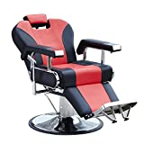 Walcut Hydraulic Reclining Barber Chair Salon Spa Beauty Equipment (Red&Black)