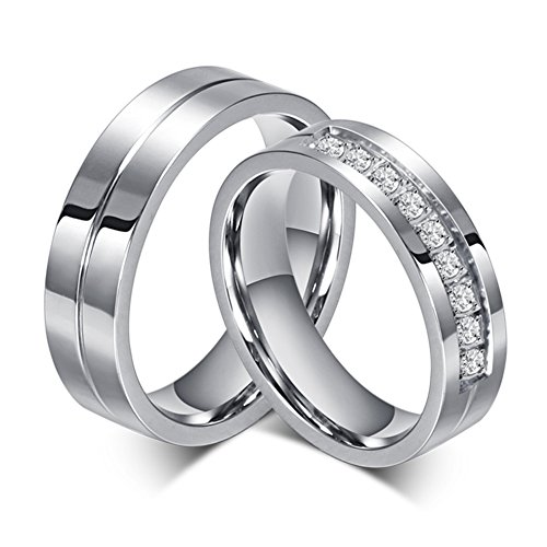 MONJER Couple Rings for Him and Her Stainless Steel Matching Promise Ring Princess Cut Bridal Wedding Engagement Band Cubic Zirconia CZ Rings for Women Men, Size 7 by MONJER