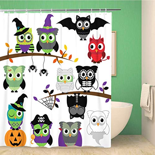 Awowee Bathroom Shower Curtain Mask Collection of Spooky Halloween Owls Monster Animal Zombie 72x78 inches Waterproof Bath Curtain Set with Hooks]()