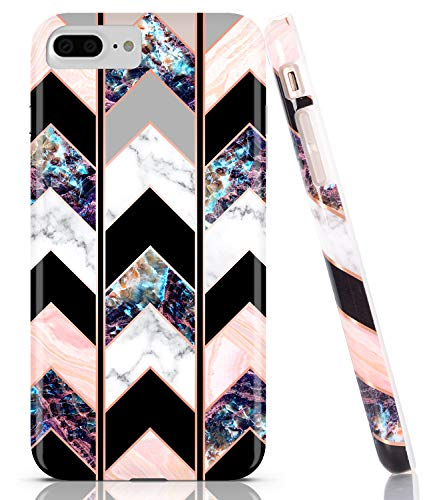 BAISRKE Shiny Rose Gold Wave Geometric Marble Case Slim Soft TPU Rubber Bumper Silicone Protective Phone Case Cover Compatible with iPhone 8 Plus / 7 Plus / 6 6s Plus [Black]