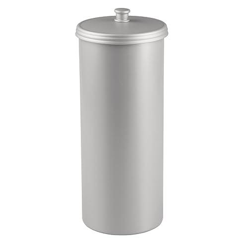 interdesign kent ersatzrollenhalter mit deckel freistehender und kompakter toilettenpapierhalter fr ersatzrollen aus kunststoff silberfarben - Moderner Freistehender Toilettenpapierhalter