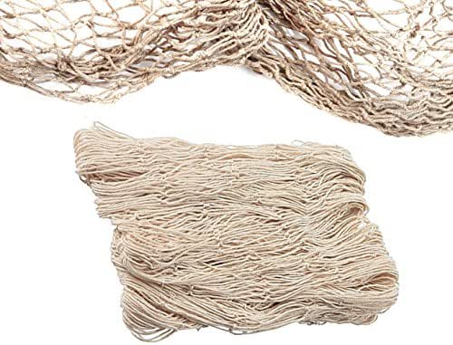 Natural Fish Net Party Decorations for Pirate Party, Hawaiian Party, Nautical Themed Cotton Fishnet Party Accessory by Big Mo's Toys
