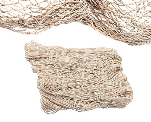 Natural Fish Net Party Decorations for Pirate Party, Hawaiian Party, Nautical Themed Cotton Fishnet Party Accessory by Big Mo's Toys -