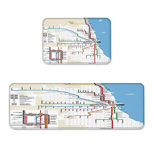 Kitchen Rug Sets 2 Piece Kitchen Floor Mats Non-Slip Rubber Backing Area Rugs Atlanta Subway Map Doormat Rubber Backing Washable Carpet Inside Door Mat Pad Sets (19.7