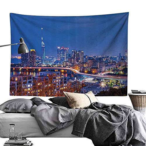 Commemorative Tapestry Urban Twilight of Hakata in Fukuoka Japan Skyline View Skyscrapers Modern City Life Photo Bedroom Home Decor W24 x L20 Multicolor