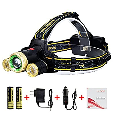 Super Bright 5000 Lumen LED Headlamp Headlight Flashlight with 2 Rechargeable Batteries and Wall Charger, 3 CREE XM-L T6 Beams 4 Modes Waterproof for Outdoor Sports Camping Hiking Fishing Riding By JS