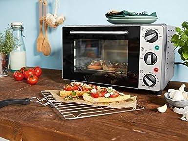 Silvercrest Mini horno 15 L – 1300 W – Mini horno para pizza SGB 1200 Puerta de doble cristal plata: Amazon.es: Grandes electrodomésticos