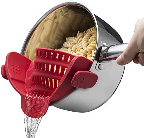 Kitchen Gizmo Snap 'N Strain Strainer, Clip On Silicone Colander, Fits all Pots and Bowls - Red