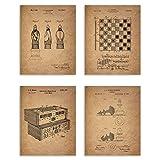 Chess Patent Prints - Set of 4