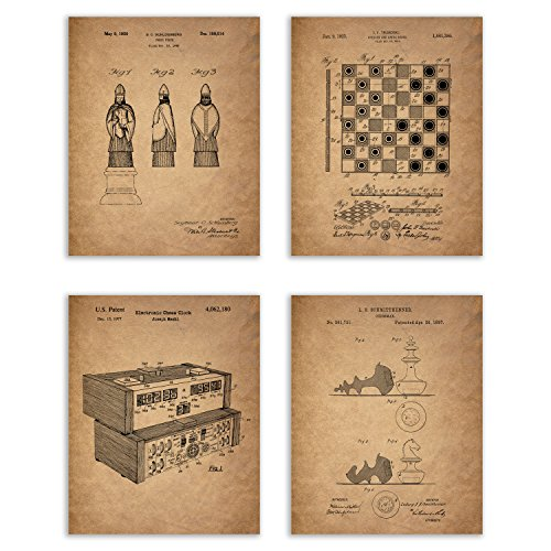 Chess Patent Prints - Set of Four 8x10 Photos Vintage Wall Art Decor - Chess Lover Gift