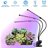 30W LED Grow Light for Indoor Plant with Auto Turn On/Off Function,3H/6H/12H Timer,3 Head Flexible Gooseneck,Stepless Dimming Grow Lamp Red and Blue Spectrum