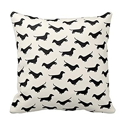 DECORLUTION Dachshund Weiner Dog Pattern in Black Throw Pillow Cover Pillow case cover One Side