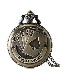 Poker Watch Royal Flush Pattern Vintage Pocket Watch Steampunk Clock Necklace Chain, Gift for Men Women
