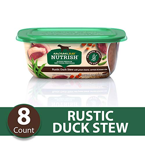 Rachael Ray Nutrish Natural Premium Wet Dog Food, Rustic Duck Stew With Veggies & Brown Rice, 8 Oz. Tub (Pack Of 8) (Rachel Ray Green Bean Stew)