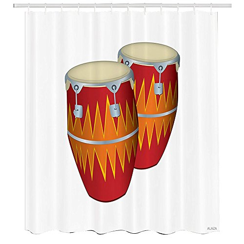 Latin Congas Vintage - Music Shower Curtain,Funky African Cuban Music Two Congas Tumbadora Folk Latin Rumba Salsa Sound Pattern,Cloth Fabric Bathroom Decor Set with Hooks,72 by 72 inches,Multicolor