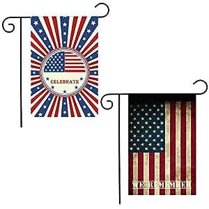 shmbada Spring - Bandera para jardín de Estados Unidos (temporada americana, 12 x 18 pulgadas, 2 unidades)