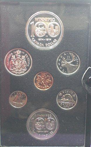 CA 1974 Royal Canadian Double Struck Mint Proof Set Commemorative Silver Dollar Commemorative Nickel Dollar Proof Canadian Mint Coin Set
