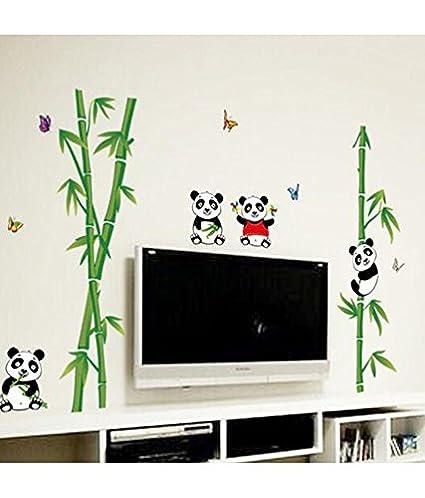 Decals Design Cute Little Animals Panda on Bamboo Trees Wall Sticker (PVC Vinyl, 90 cm x 60 cm),Multicolour