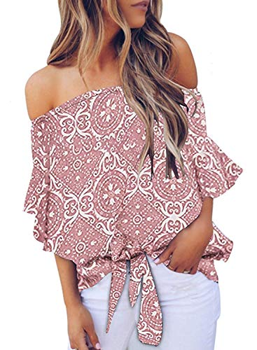 (Women Off Shoulder Blouses 3/4 Sleeve Casual Summer Boho Printed Tops Shirts Pink Floral S)