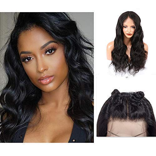 Cute Fairy 13x4 Body Wave Lace Frontal Human Hair Wigs For Black Women 100% Virgin Remy Human Hair with Baby Hair Natural Hairline Free Part 150% Density Natural Black Wig 16