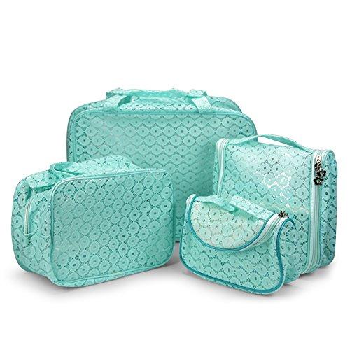 Urcover® Bolso Cosméticos Set de 4 | Neceser Damas en Diferentes Tamaños Cosmetiquera con Gancho Colgador en Menta Verde Menta Verde