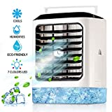 Personal Air Conditioner Fan Portable | 4 in 1 Evaporative Air Cooler with Hidden Handle | Humidifier Mode | 7 Colors Night Light Waterbox | Super Quiet Desk Fan 3 Speeds for Home Office Bedroom