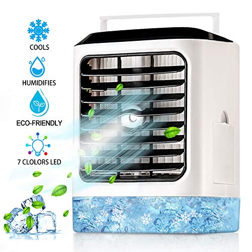 Personal Air Conditioner Fan Portable 4 in 1 Evaporative Air Cooler with Hidden Handle Humidifier Mode 7 Colors Night Light Waterbox Ultra-Quiet USB Desk Fan 3 Speeds for Home Office Bedroom