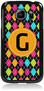 """""""G"""" Argyle Monogram-Hard Plastic Case in Black- for the Samsung Galaxy s6 Only; Not Compatible with the Galaxy s6 EDGE"""