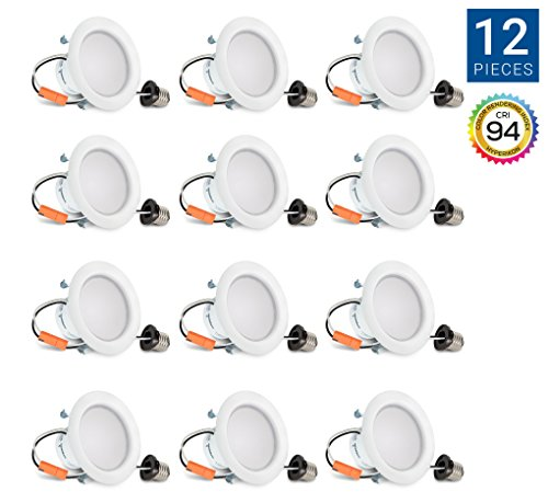 Hyperikon 4 Inch Dimmable Recessed LED Downlight, 9W (65W Equivalent), 2700K (Warm White), Retrofit Lighting Fixture, ENERGY STAR, 650 Lumens - Great for Cans in Bathroom, Kitchen, Office (12 Pack) (White Downlight Recessed)