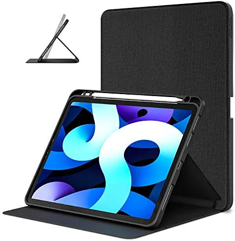 DTTO Case for iPad Pro 11 inch 2nd/3rd Generation 2021/2020/2018 -[Auto Wake/Sleep+Full Body Protection+Apple Pencil Charging], Soft TPU Back Cover-Also Fit iPad Air 4,Black