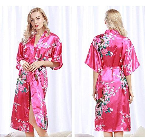 Bridesmaid Robes Pajamas Satin Rose Red Kimono Peacock Wedding Bride Robe Robe Robe wqtAnzx