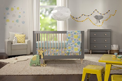 Babyletto 4-Piece Nursery Bedding Set, Crib Sheet, Skirt, Stroller Blanket & Wall Decals, Tulip Garden