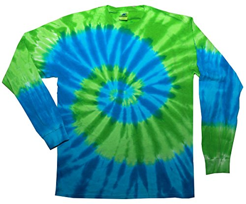 Dye Long Sleeve T-Shirts Multicolor Youth Kids Sizes (Blue Lime, 6-8) ()