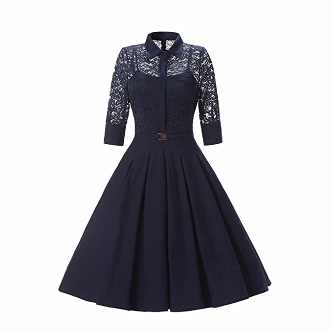 Lenfesh Estilo Retro Vestido Niña para Fiesta Coctel Boda,Floral Lace Prom Swing Faldas Vestido