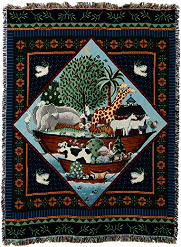 Pure Country Weavers - Noahs Ark Full Coco Woven Tapestry Throw Blanket with Fringe Cotton USA Size 72 x 54 ()