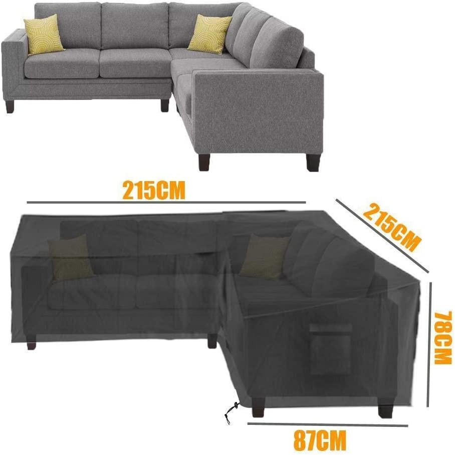 Size : Square: 155 * 95 * 68cm YMYP08 Black Waterproof L-shaped Dust Cover,corner Furniture Sofa Coffee Table Outdoor Garden Furniture Dust Cover