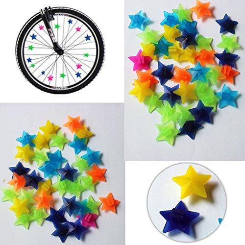 Star Bike Bicycle Wheel Spoke Beads Luminous Plastic Clip Spoke Bead Bicycle Beads Wire Beads Decorations Pack of 100