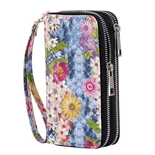 HAWEE Cellphone Wallet Dual Zipper Wristlet Purse with Credit Card Case/Coin Pouch/Smart Phone Pocket Soft Leather for Women or Lady, Flora Bloom (Zippered Id Wallet)