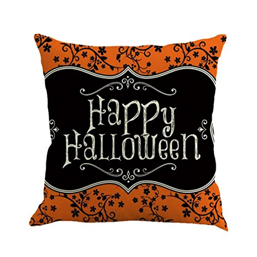 Wakeu Halloween Decorations Pillowcases Zipper Cushion Pillows Cover 18 x 18 inch -1PC Set (Happy Halloween) ()
