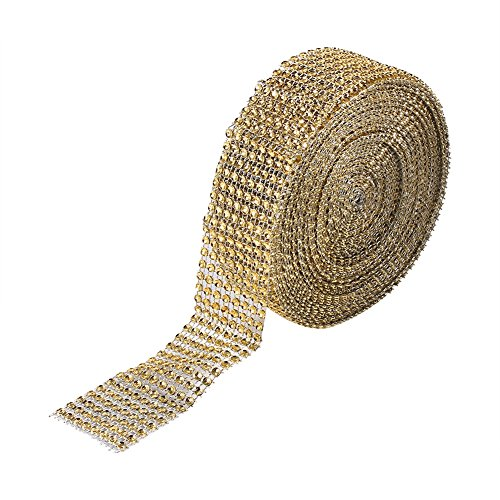 (Sparkling Diamond Rhinestone Wrap Crystal Mesh Ribbons for Wedding Cakes Birthday Event Party 3 Colors 8 Rows 10 Yard(Gold))