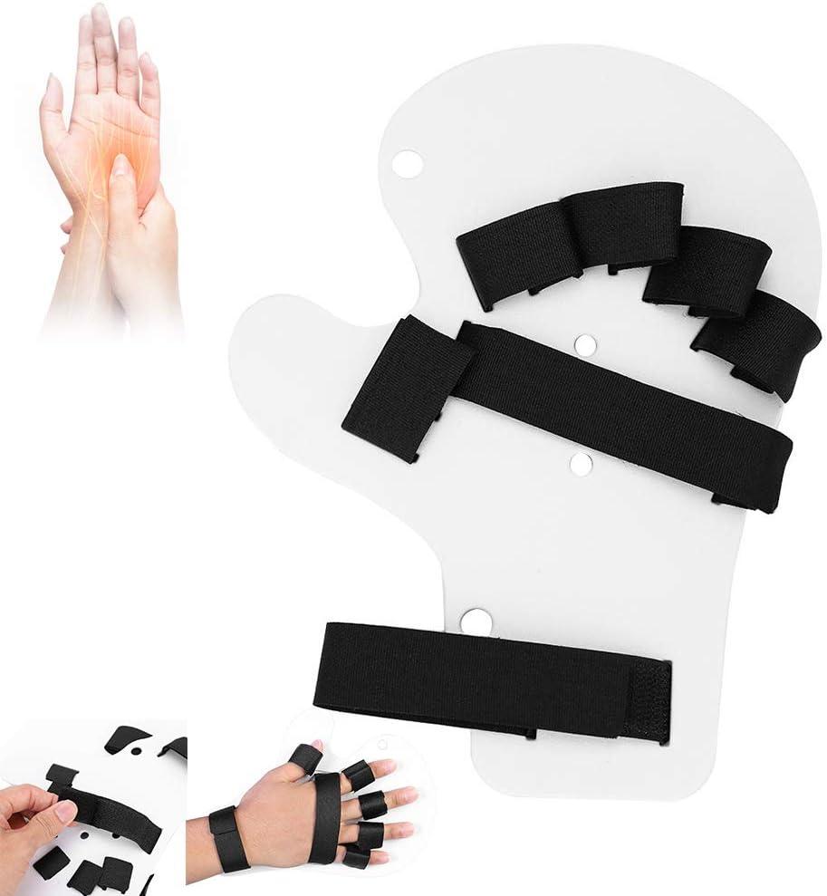 Soporte para entrenamiento de férula para mano, diapasón de tipo extendido de ortesis de dedo para recuperación de lesiones cerebrales o accidentes cerebrovasculares(Blanco)