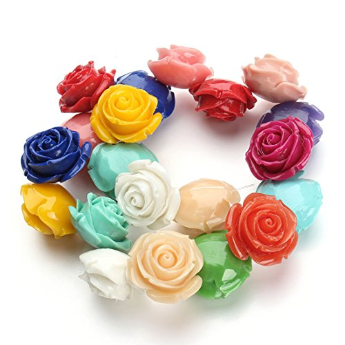 Linsoir Beads Mixed Color Gorgeous Drilled Synthetic Coral Ruffled Rose Flower Beads with Hole 6mm Bubblegum Beads 40cm/strand