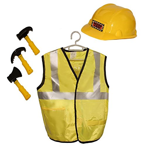 Dazzling Toys Kids Pretend Play Construction Worker Costume Set with Accessories