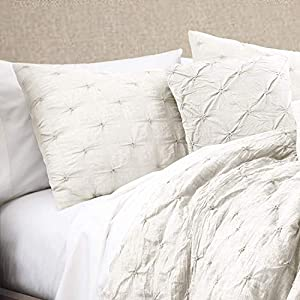Lush Décor Ravello Shabby Chic Style Pintuck White 5 Piece Comforter Set with Pillow Shams – King Comforter Set