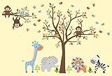Safari Animal Wall Stickers - Made from Wall Fabric Material - Large Animal Nursery Stickers - Nursery Adhesive Decals - Nursery Style - Nursery Life - Kids Room - 84'' x 129''