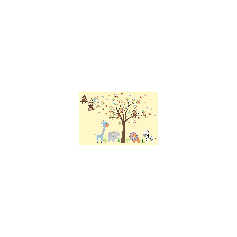Safari Animal Wall Stickers – Made from Wall Fabric Material – Large Animal Nursery Stickers – Nursery Adhesive Decals – Nursery Style – Nursery Life – Kids Room – 84″ x 129″