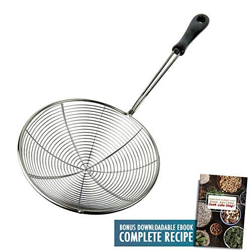 "Spider Kitchen Strainer 6.3"" Food Skimmer Ladle Premium 304 Stainless Steel Cooking Utensils Wire Net Asian Wok Colander Frying Tool with Stay Cool Heat Resistant PP Handle with Food Recipe Ebook"