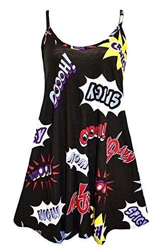 F4U donna stampa Vestito a CANOTTA MAGLIA DONNA ESTATE SWING Mini abito lungo top plus Canottiera Vestitino stile anni '50 svasato vestito a Canotta 8-26 - Boom STAMPA, XL UK 16-18